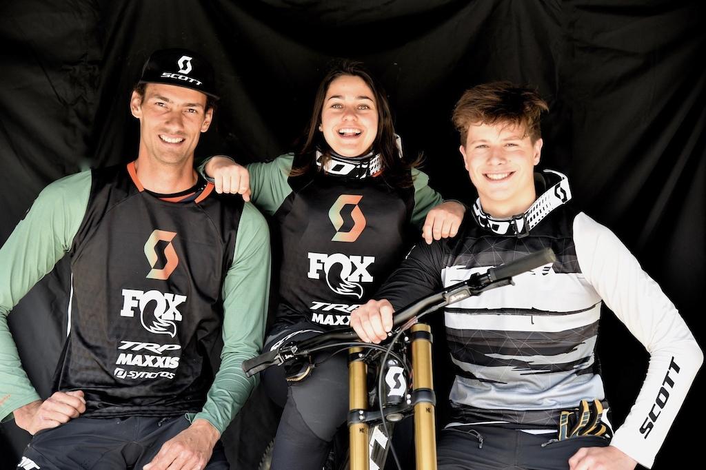 Scott DH Factory Riders Florent Payet Marine Cabirou and junior rider Louis Gaillet.