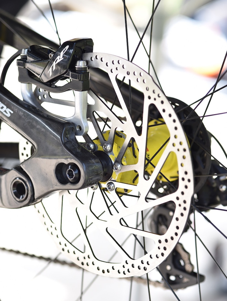TRP's new 223/2.3mm rotor was adopted by the manufacturers sponsored racers to better deal with the higher course speeds and larger wheels trending on the World Cup circuit.