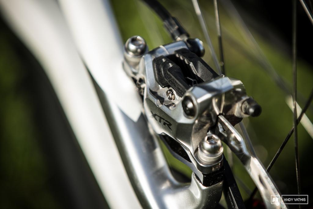 The new Shimano XTR brake on the Santa Cruz Syndicate rigs.