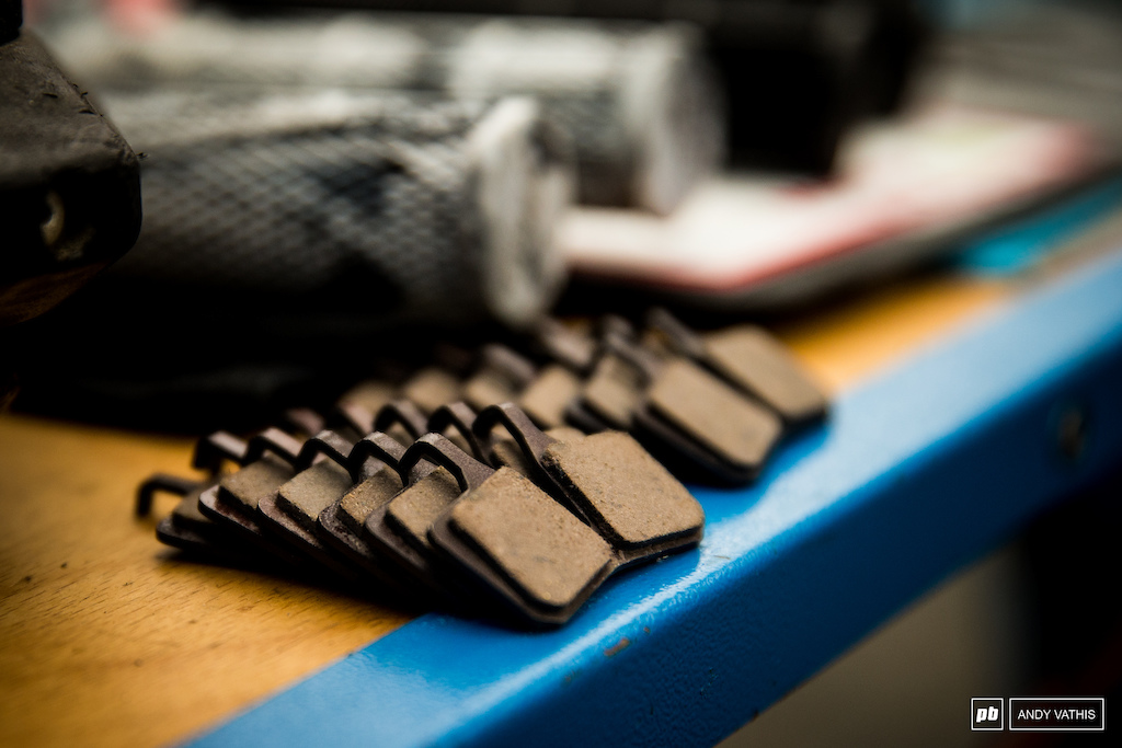Sets of brake pads ready for abuse.