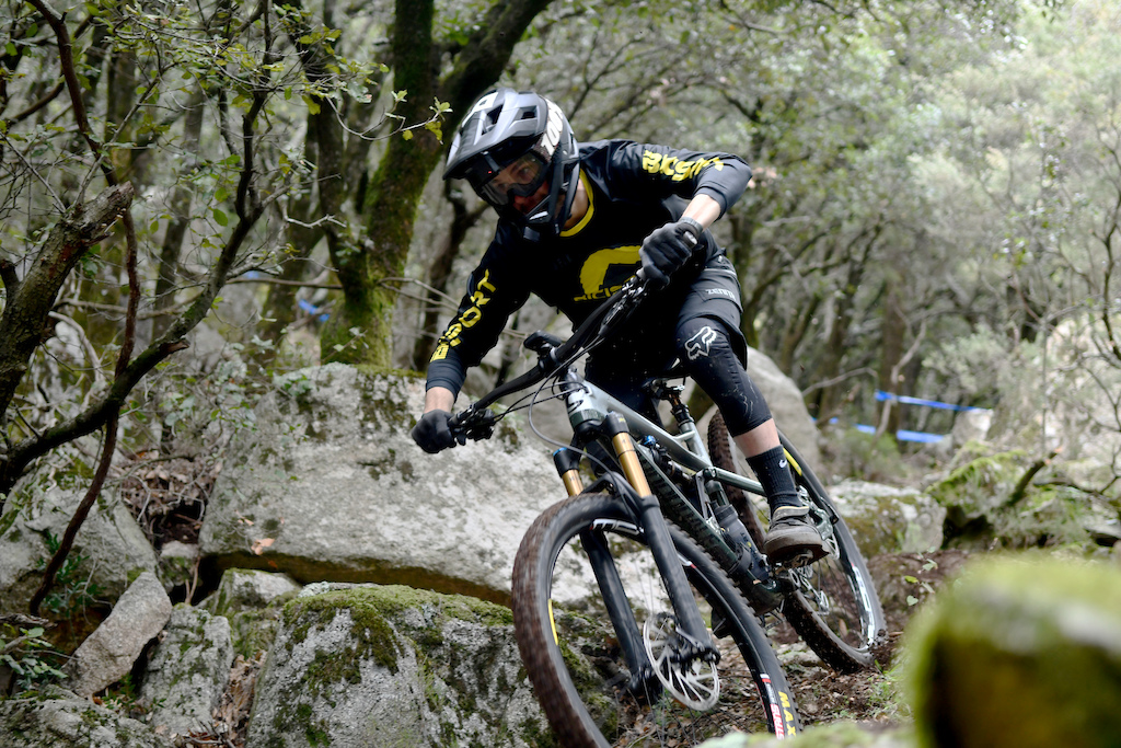 Local rider Xavier Domenech showing some skills on the SS2 rockgardens