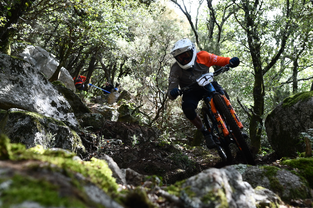 Navigating the gnarliest section of the race on the fourth stage was not easy for many riders Robin just flew down