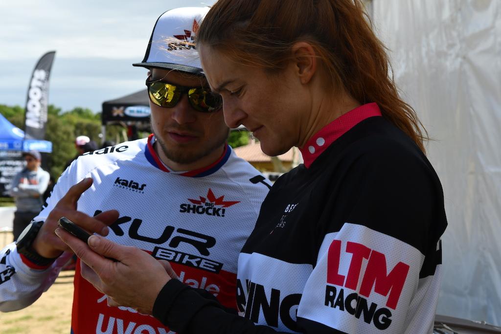 Marketa Michalkova and Milan Mysik checking their times are we on the podium