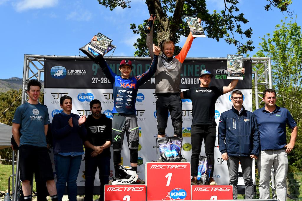Elite podium Robin Wallner Mirco Vendemmia and local Guillem Sanz