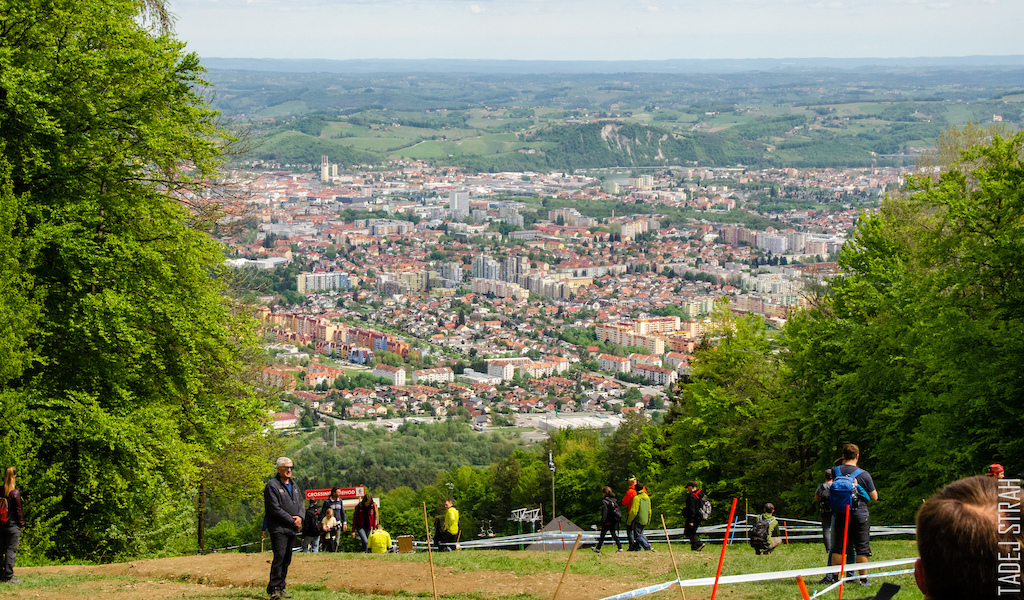 The city of Maribor. The track is just a few minutes away from the city center