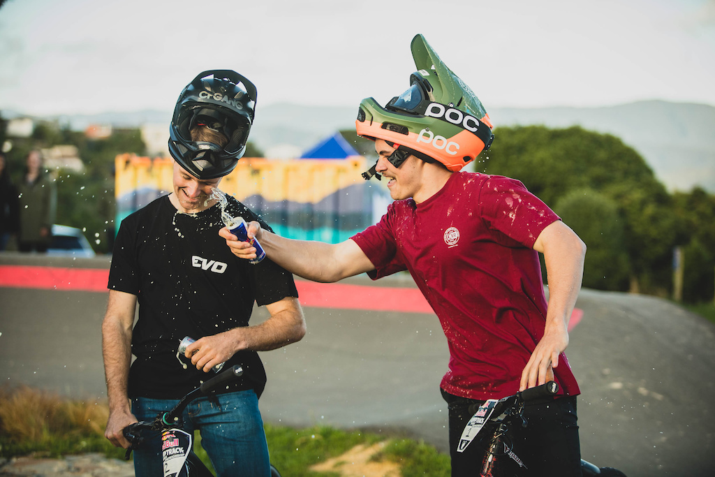 Billy Meaclem and Connor Mahuika celebrate in New Zealand after Connor Mahuika takes first place