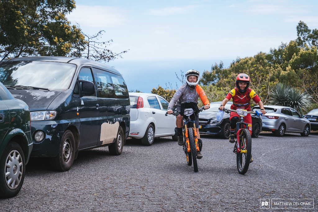 Isabeau and Bex head out on the climb to the start of stage one.