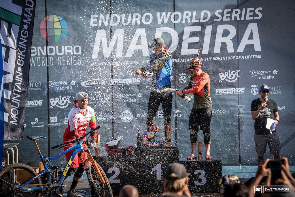 Martin Maes, Jesse Melamed and Jose Borges on top of the men's podium