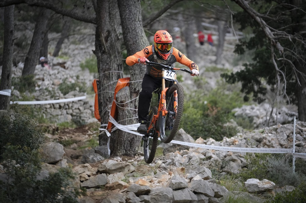 Felix Bauer 2nd placed UCI Men at 2019 Downhill Lo inj opening round of Unior Downhill Cup. Photo by Urban Cerjak Monster Energy.