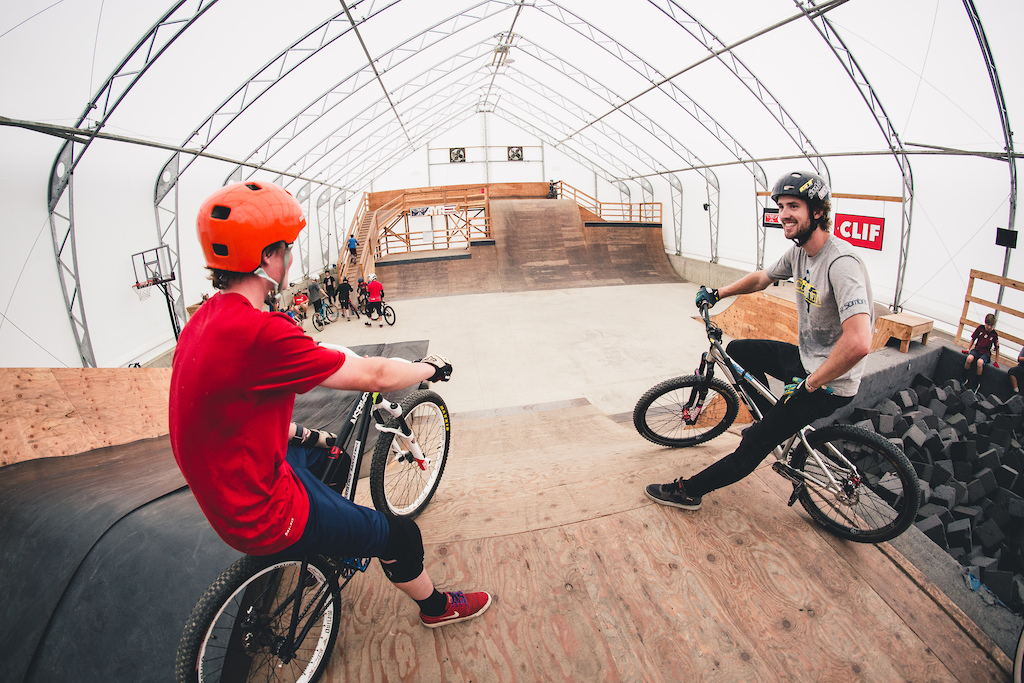 David Lieb chatting with an Ayr Academy camper in the HTC at Highland Bike Park. Photo by Peter Jamison