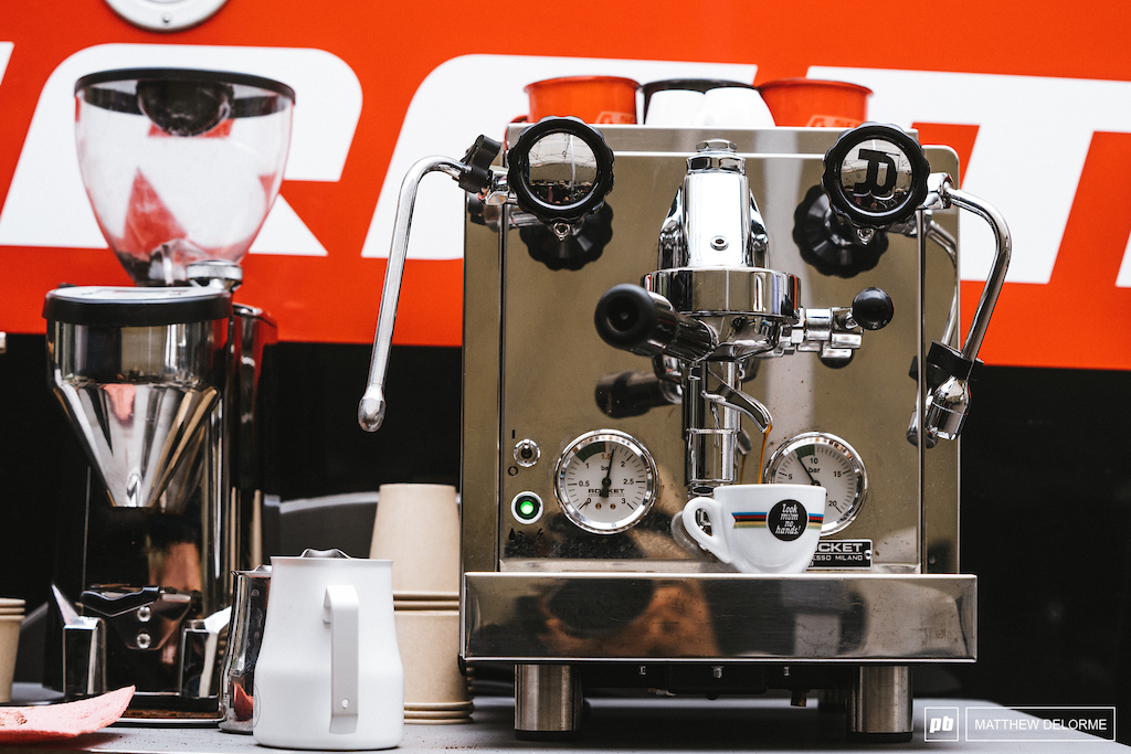 Just about every pit has an espresso machine we are thinking of a team coffee taste test at round two