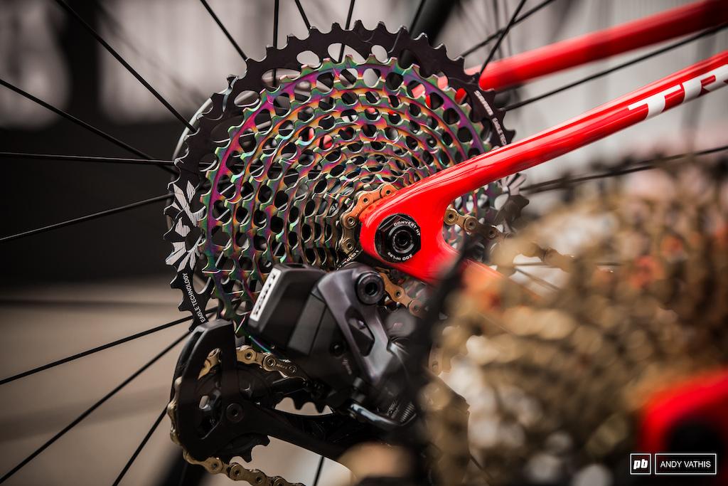 Oil slick treatment on Anton Cooper s bike.