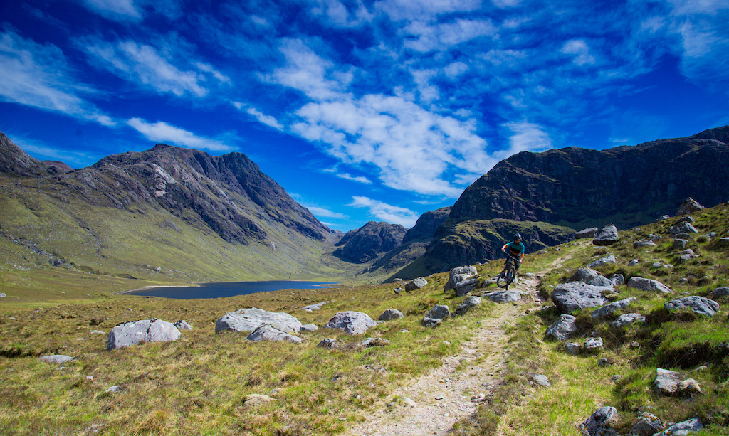 A brief moment to play on the long, winding climb to the plateau below Ruadh Stac Mor.
