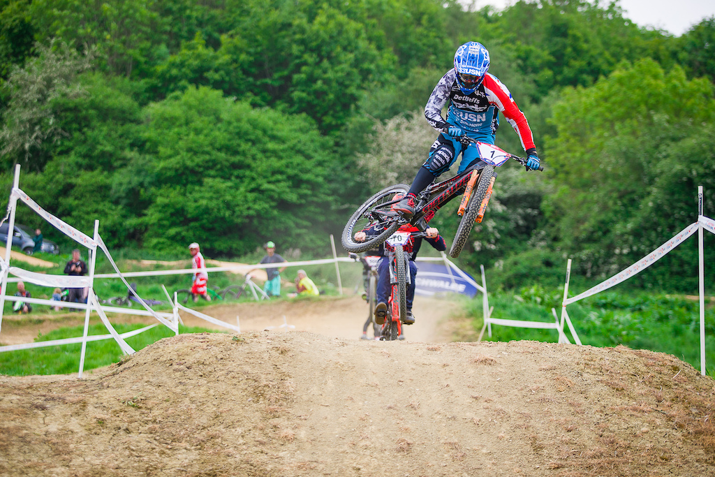 finals during round 3 of The 2019 Schwalbe British 4X Series at 417 Bike Park Gloucester Gloucestershire United Kingdom on May 19 2019. Photo Charles A Robertson