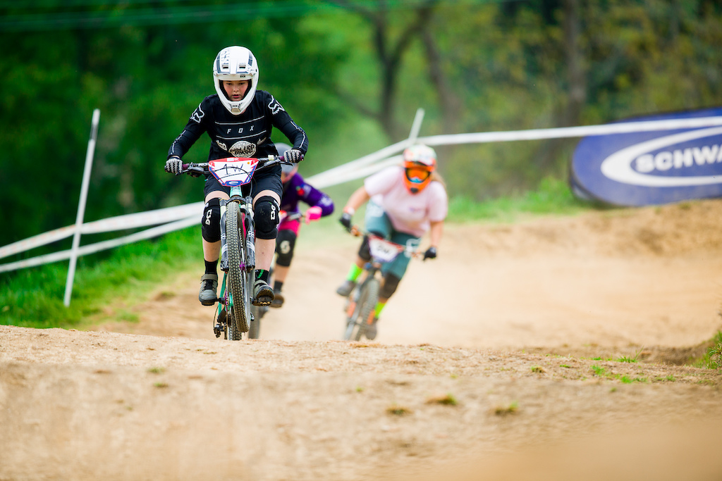 open practice and motos during round 3 of The 2019 Schwalbe British 4X Series at 417 Bike Park Gloucester Gloucestershire United Kingdom on May 19 2019. Photo Charles A Robertson