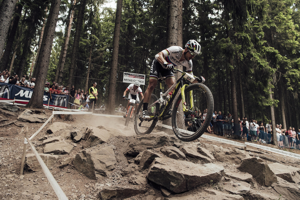 Nino Schurter performs at UCI XCO World Cup in Nove Mesto Czech Republic on May 27th 2018 Bartek Wolinski Red Bull Content Pool AP-1VSV9GWC52111 Usage for editorial use only Please go to www.redbullcontentpool.com for further information.