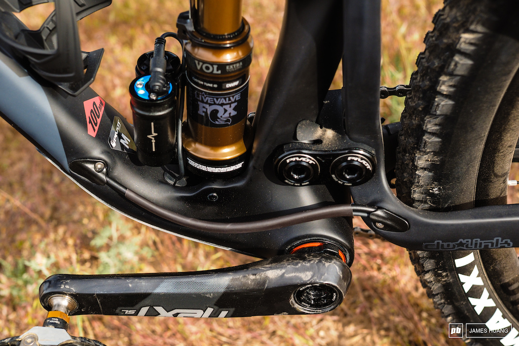 Pivot is sticking to the PF92 bottom bracket and that wide format allows plenty of room for suspension hardware.