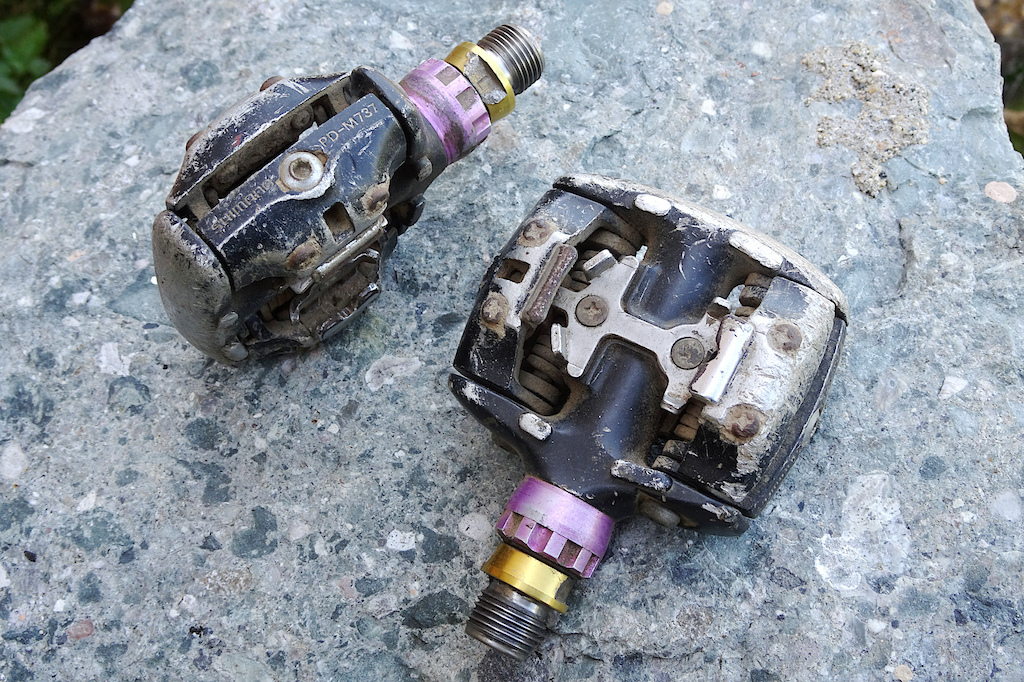 65e24c5a6e3 Shimano PD737 pedal with aftermarket titanium axles.