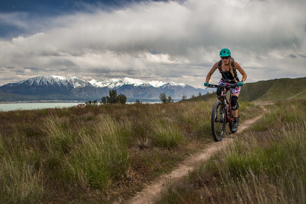 Eagle Mountain trails with Mt. Timpanogos and Utah Lake in the background.