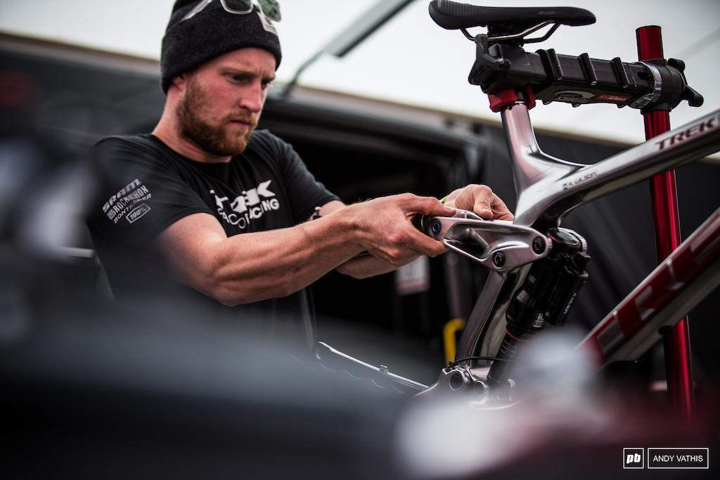 Joe Krejbich making sure the Reece Wilson's bike is ready for another podium performance tomorrow.