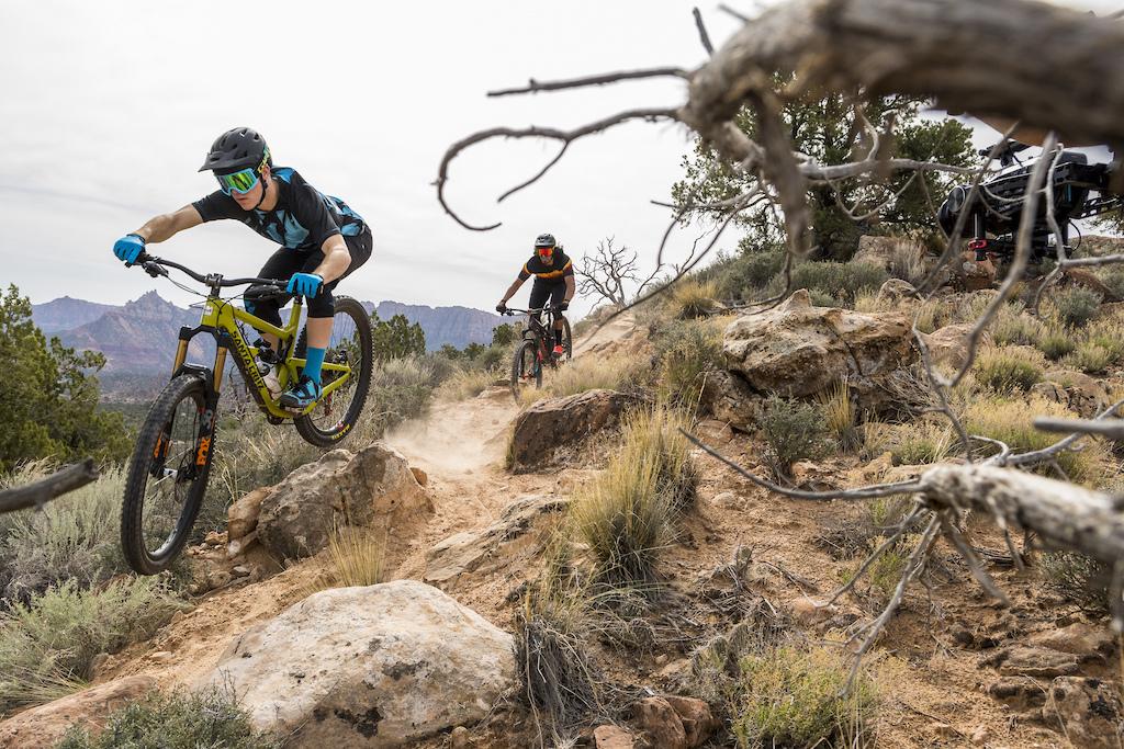 Aggressive trail riding on the Grafton Mesa Trail ouside of Virgin UT