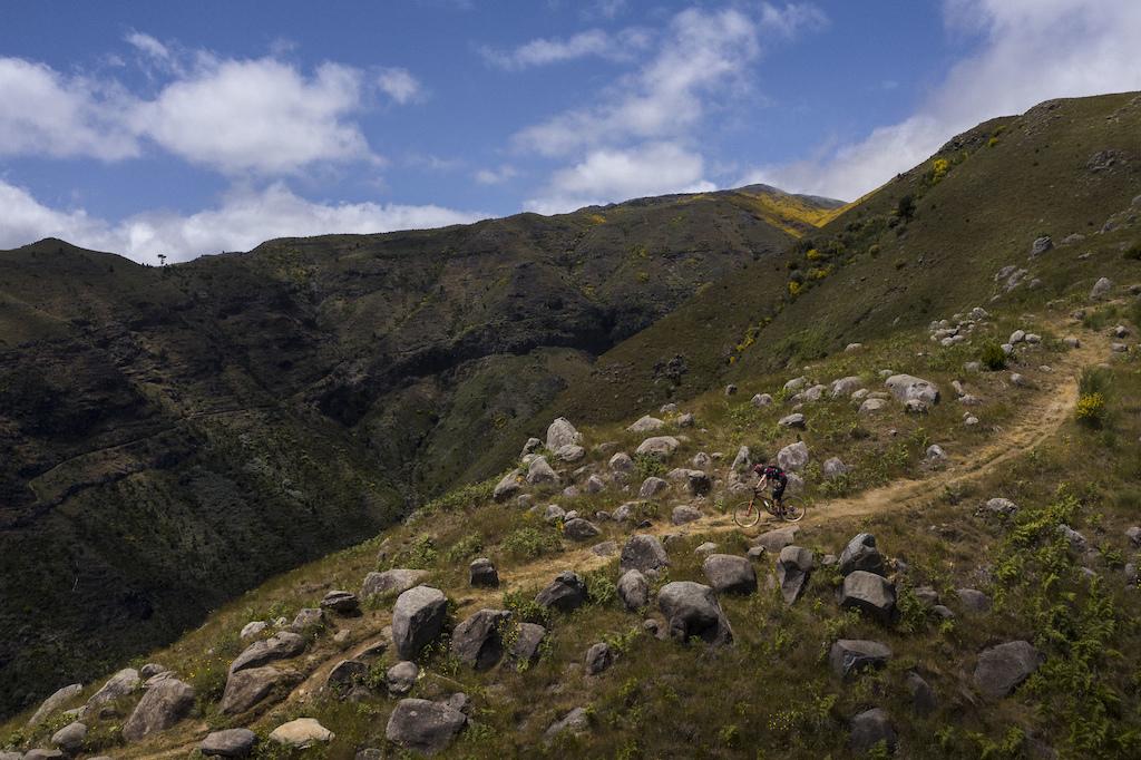 High alpine ridge line riding.