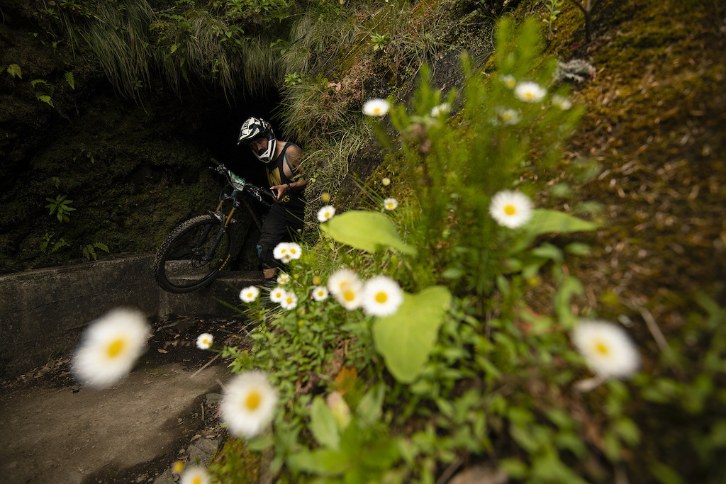 Whites of the eyes after a few helmet clipping moments in the tight levada.