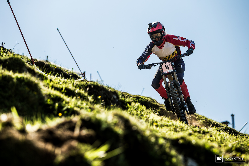 Veronika Widmann charging the off camber bit. If her result in Fort William is anything to go by, she should be a fan of this track.