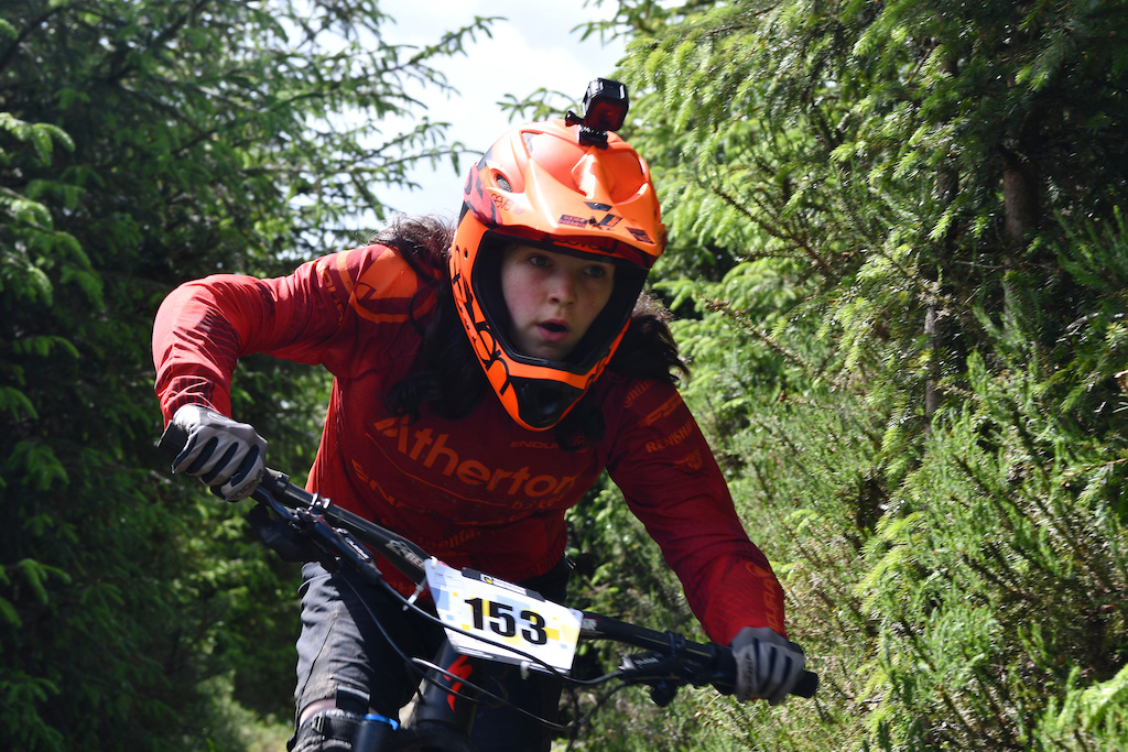 Hannah Mullin fresh from her podium in the Under 14 Girls Mini Downhill Mountain Bike race in Fort Williams same weekend as the WC Downhill