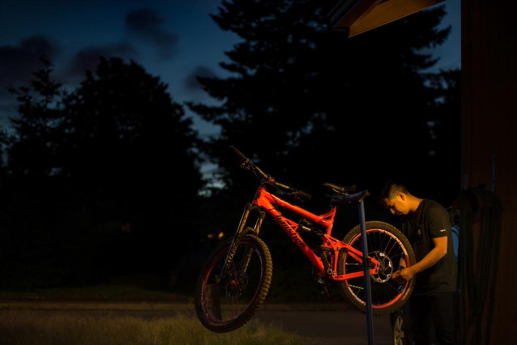 Late night bike check.