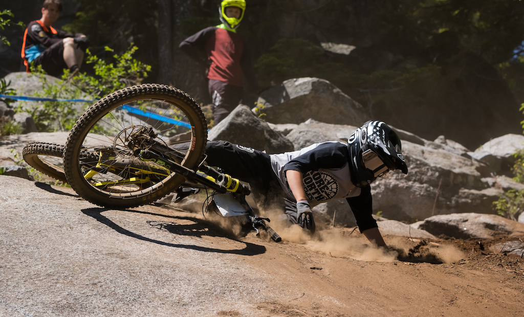 The rock slab at the top of Cat 1 and Cat 2 took out rider after rider due to the slippery dust.