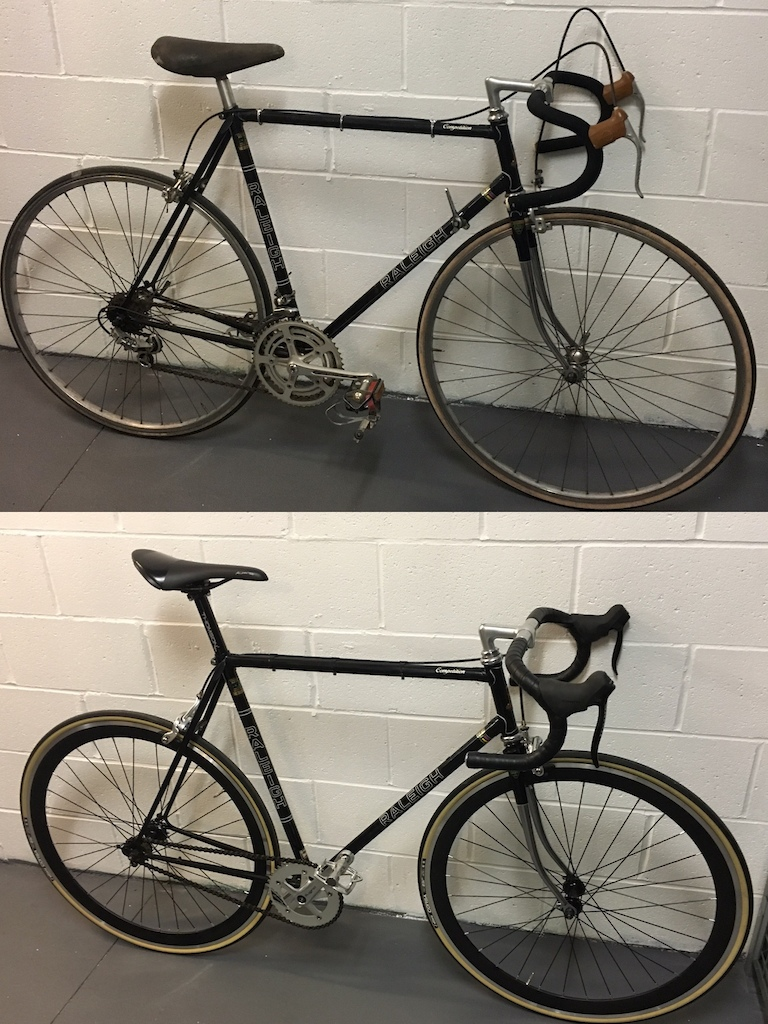 Before and after 1979 Raleigh Competition build