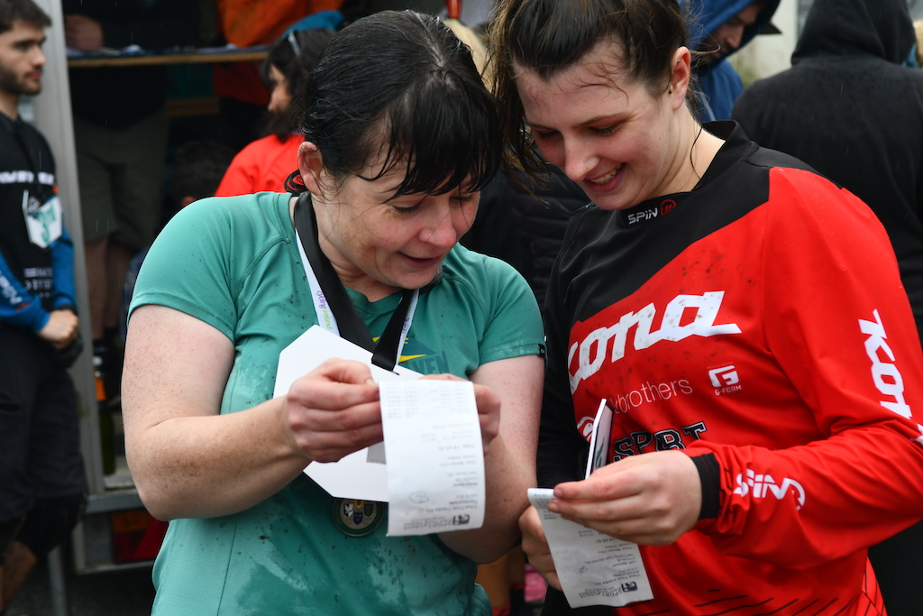 Meave Baxter and Leah Maunsell checking their times Meave managed to win first and last stage