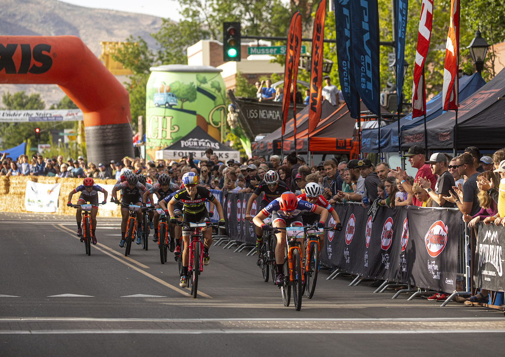Haley Batten holds off a charging Chloe Woodruff and World Champion Kate Courtney to win the El Yucateco Fat Tire Crit on Friday evening in downtown Carson City.