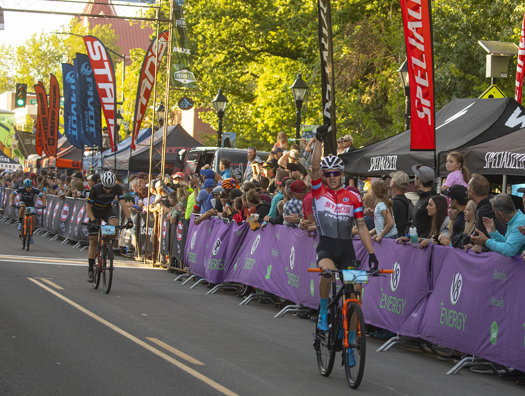 After numerous attacks from the group and a few short-lived breakaways in the El Yucateco Fat Tire Crit in downtown Carson City the group came back together on the final lap and Keegan Swenson attacked with a few turns remaining for a commanding victory.