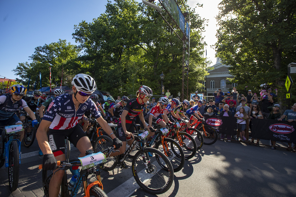The Pro Women roll off the line Sunday morning in downtown Carson City at the start of the Capital 50 Backcountry event.