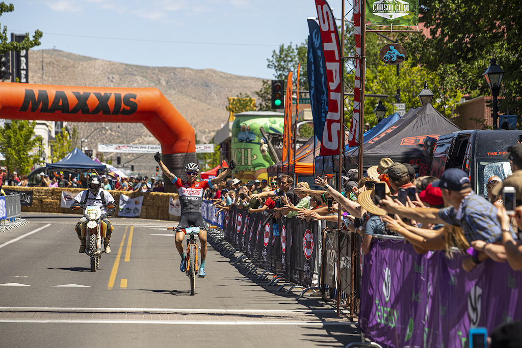 With nearly a three minute gap on second place Keegan Swenson could have ridden an extra lap around downtown and still taken home the victory.