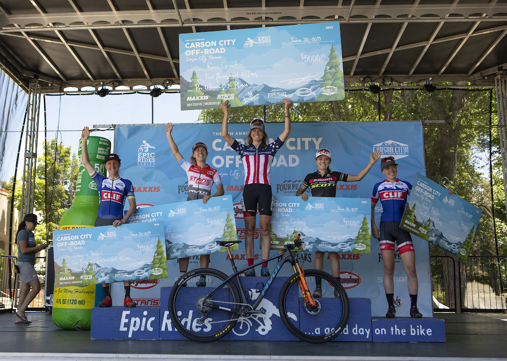 The Pro Women s Capital 50 podium 5th Haley Batten 4th Catharine Pendrel 3rd Kate Courtney 2nd Chloe Woodruff 1st Rose Grant