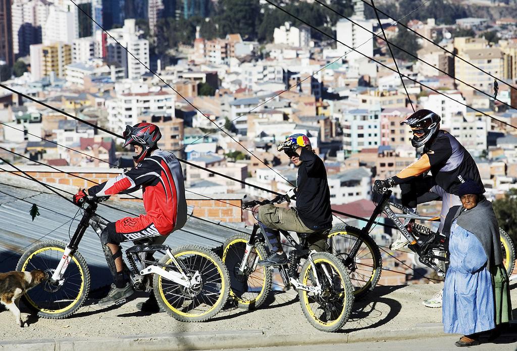 The future meets the past. Carlin Dunne Robbie Bourdon and Cedric Gracia La Paz Bolivia Photo by Lucas Kane