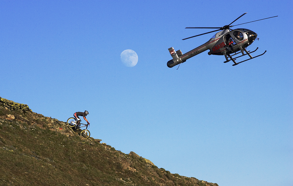 Carlin Dunne is filmed by helicopter NWD VI in Hinterglemm Austria. Photo by Lucas Kane