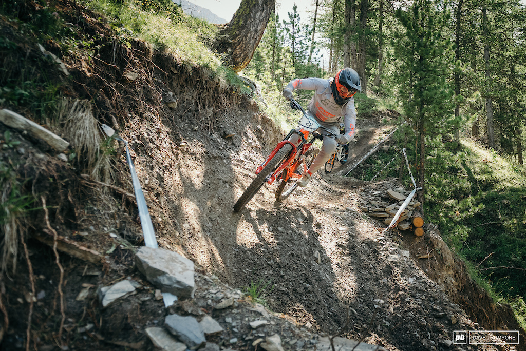 Keegan Wright through the lower part of Stage one that weaves in and out of the bike park.