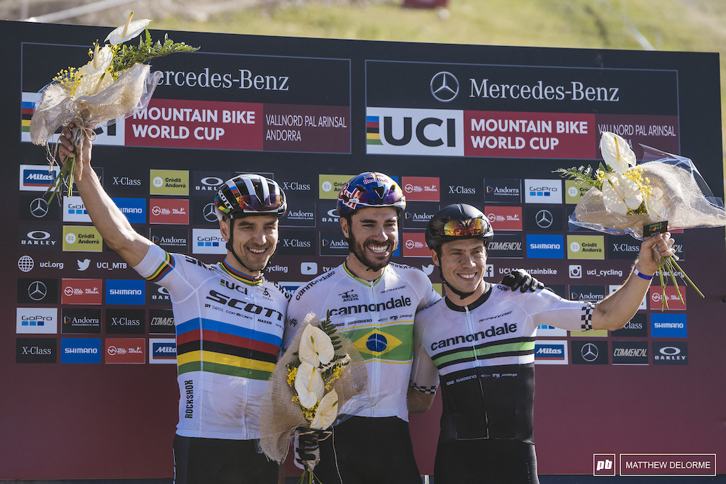Avancini, Schurter, and Marotte, your men's podium.