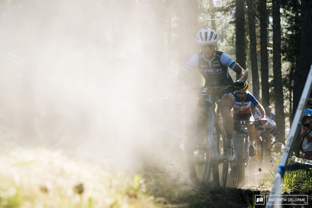 Jolanda Neff fighting her way through a dust cloud.