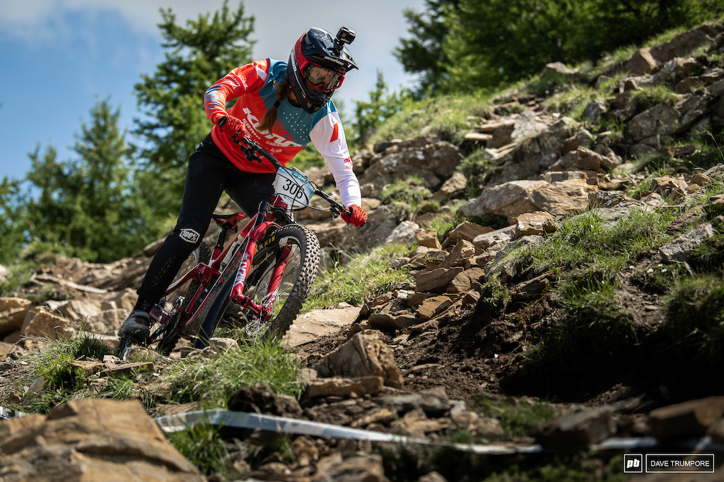 Learning more an more each race, Miranda Miller is having a great ride and sits 5th on day 1