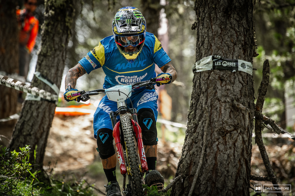 Sam Hill charming Stage 1 before a puncture would ruin his weekend and possibly his hopes t take a 3rd world title