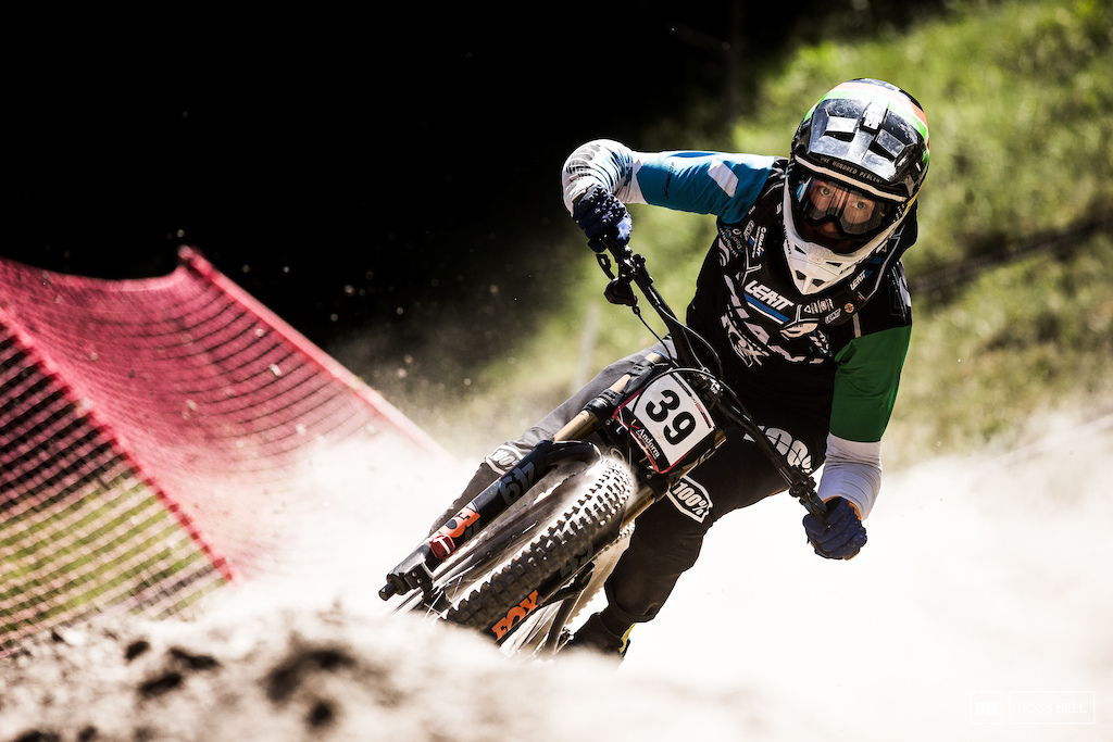 Jacob Dickson stuffing it into the loose berm exiting the woods. A strong ride from the Irishman took him to 13th.