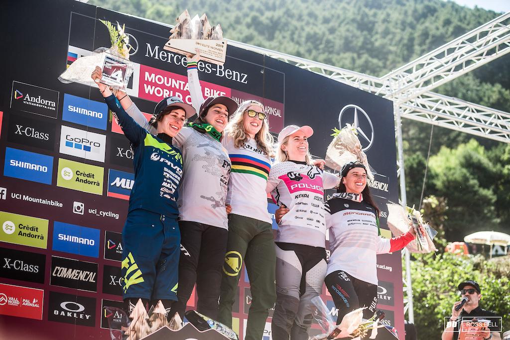 Your elite womens podium in Andorra 1st Rachel Atherton 2nd Marine Cabirou 3rd Tracey Hannah 4th Emilie Siegenthaler 5th Eleonora Farina