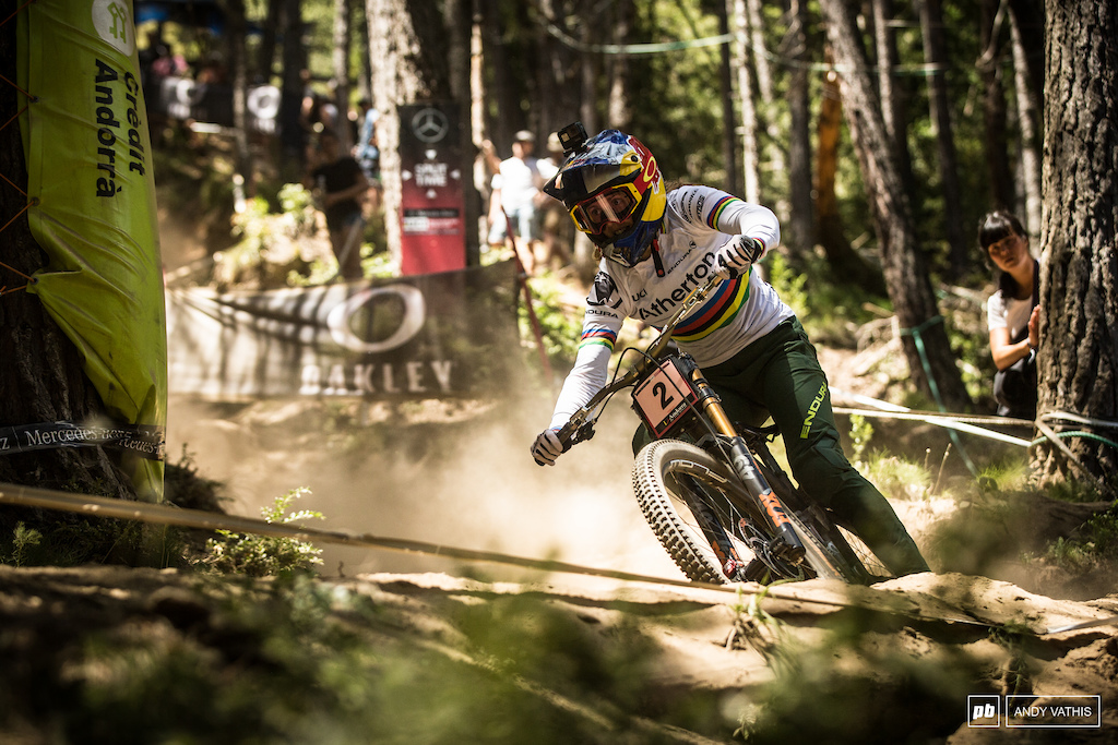 Rachel Atherton took a full three seconds off her qualifying time and along with that the victory here in Andorra.