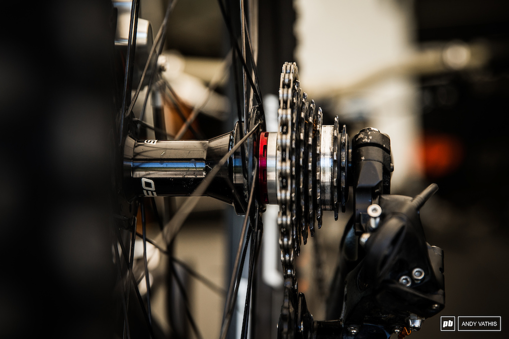 Gee Atherton s neutral gear mechanism. The idea here is that on rougher sections of track He d shift into the dead gear to eliminate pedal feedback.