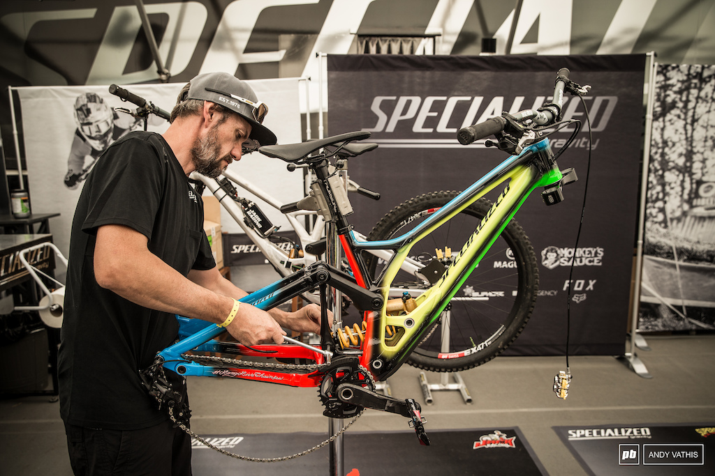Loic s bike getting some love after the trashing it received in Andorra.